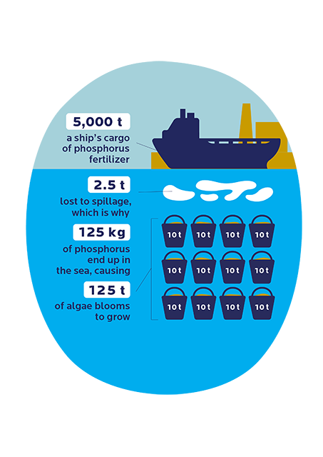 An imaginary example illustrating the scale of the discharge risk involved in fertilizer shipping. According to estimates, 0.05% of the cargo can end up in the sea as spillage. If the fertilizer contains 5% of phosphorus, this equals 125 kg of phosphorus from a single ship. In the sea, 1 kg of phosphorus accelerates the growth of 1 ton of algae.